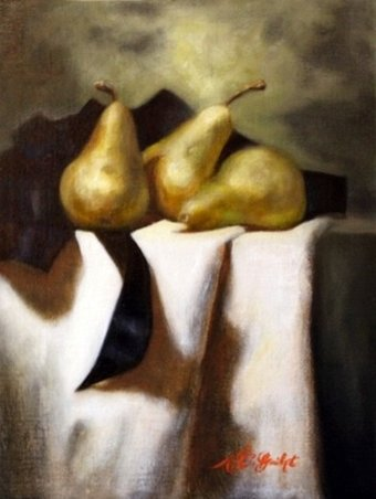 Contemporary still life painting of pears and black ribbon